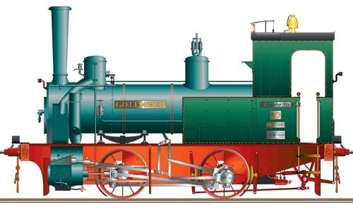 Die Lok GOTTSCHED war wie die noch existierende Lok HEGEL (98 7056) zwischen 1885 und 1910 auf der Hänichener Kohlenzweigbahn Potschappel – Possendorf im Einsatz Zeichnung Falk Philipp