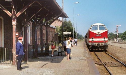 Bahnhof Fleetmark und die 119 191 mit einem Personenzug von Salzwedel nach Stendal